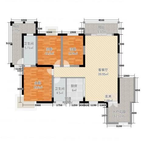 天鹅湖1号3室1厅2卫1厨171.00㎡户型图