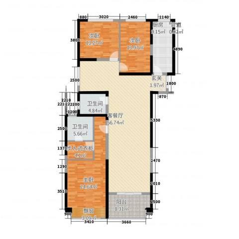 置地广场3室1厅2卫1厨196.00㎡户型图