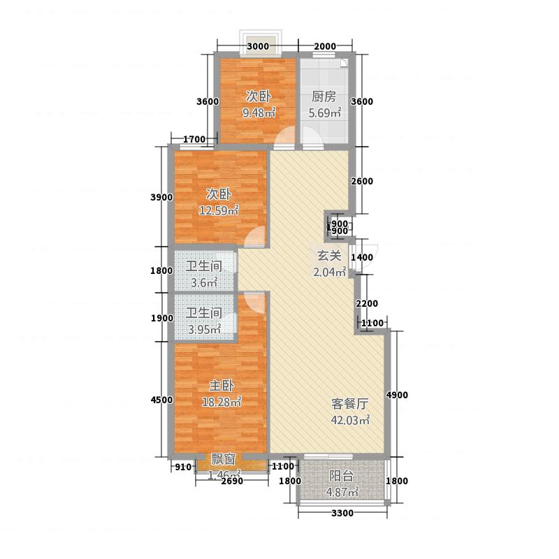 熙园公馆131.70㎡H户型3室2厅2卫1厨