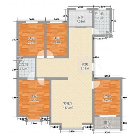 海湾新家园4室1厅2卫1厨145.00㎡户型图