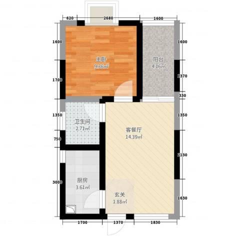 明珠热线1室1厅1卫1厨41.16㎡户型图
