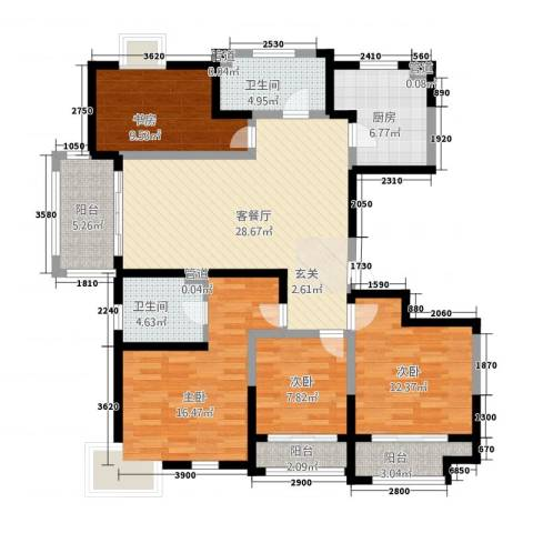 太阳都市花园4室1厅2卫1厨162.00㎡户型图