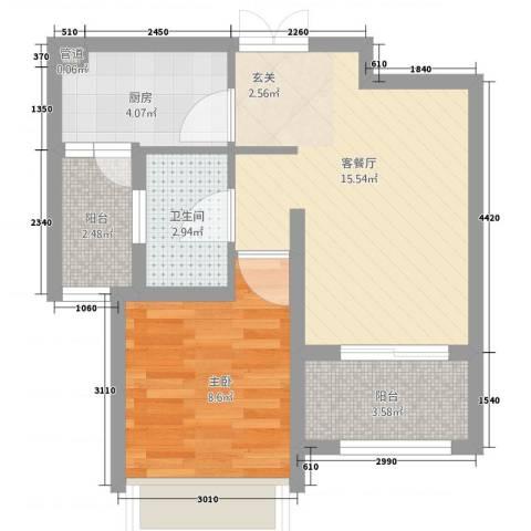 国基城邦1室1厅1卫1厨58.00㎡户型图