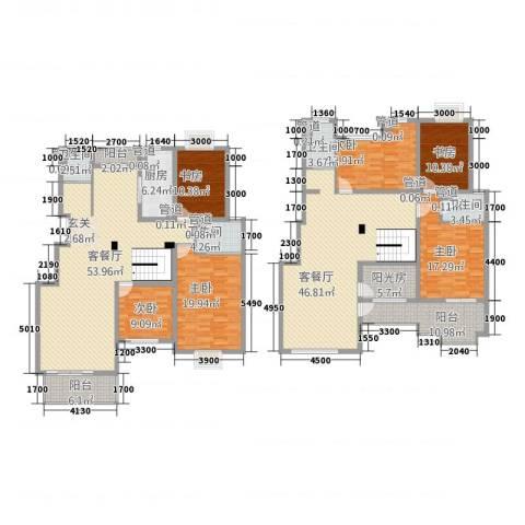 锦麟天地6室2厅4卫1厨260.00㎡户型图
