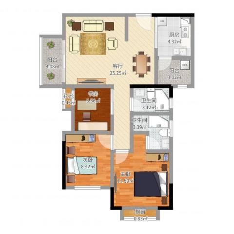 招商花园城二期3室1厅2卫1厨102.00㎡户型图