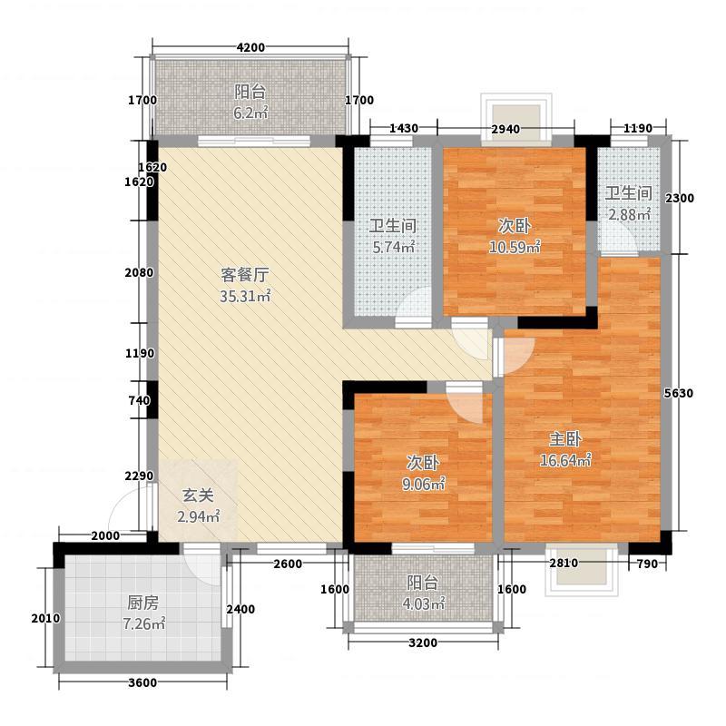 长虹百花沁苑126.20㎡B户型3室2厅2卫1厨