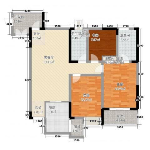 文华园3室1厅2卫1厨131.00㎡户型图