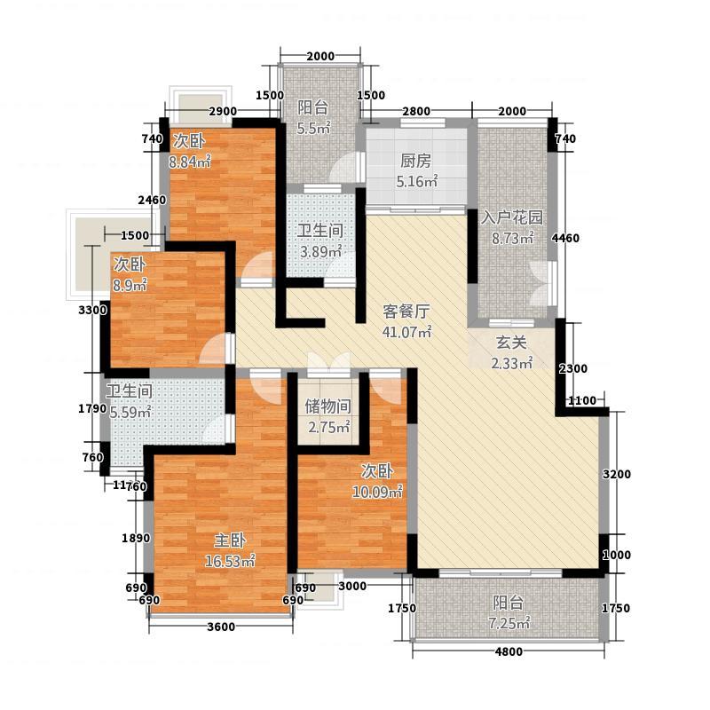 昊地喜悦城果147.43㎡C2、C3、C4、C5栋01、02号户型4室2厅2卫1厨