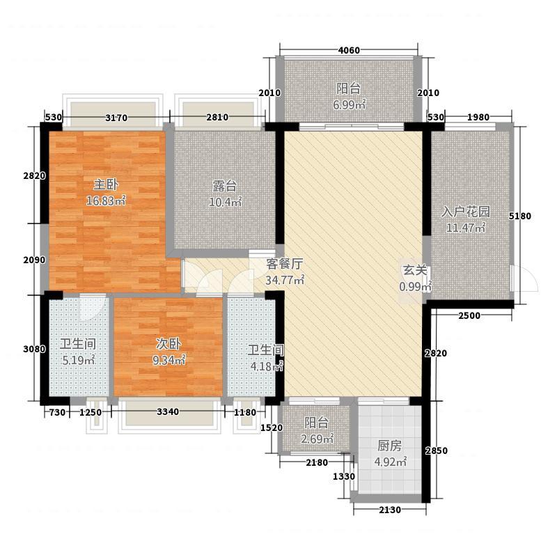 恒福尚城125.38㎡8栋02户型2室2厅2卫1厨
