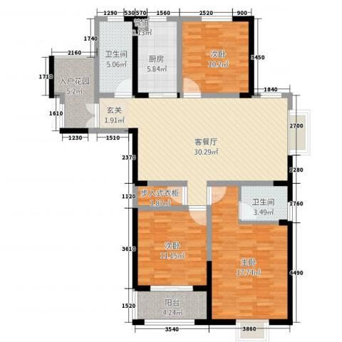 时代国际3室1厅2卫1厨138.00㎡户型图