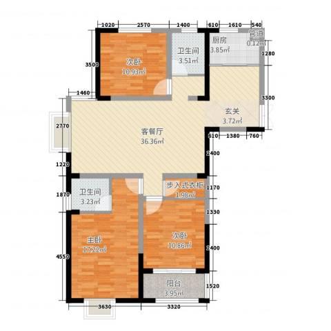 时代国际3室1厅2卫1厨132.00㎡户型图