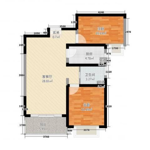 世纪花园2室1厅1卫1厨92.00㎡户型图