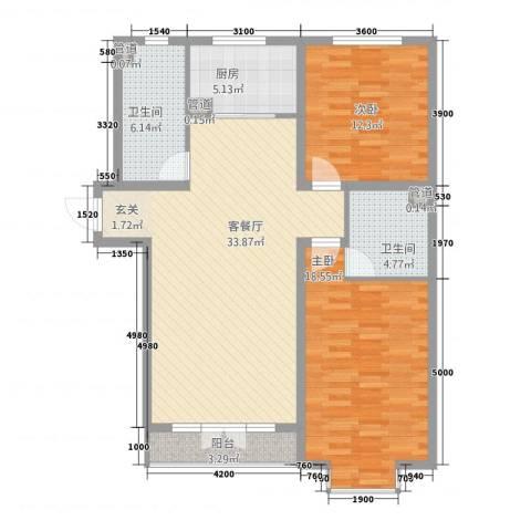 时代新居2室1厅2卫1厨95.45㎡户型图