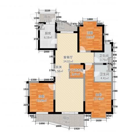虹叶茗园3室1厅2卫1厨152.00㎡户型图