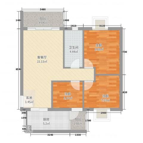 汇星苑3室1厅1卫1厨85.00㎡户型图