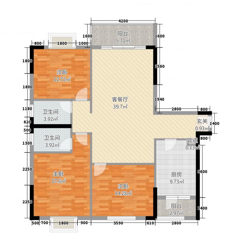 巨星国际56141.45㎡05/06标准层户型3室2厅2卫1厨