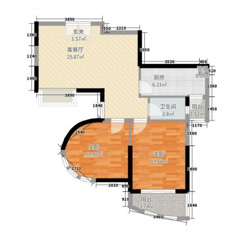 孔目江1号2室1厅1卫1厨64.45㎡户型图