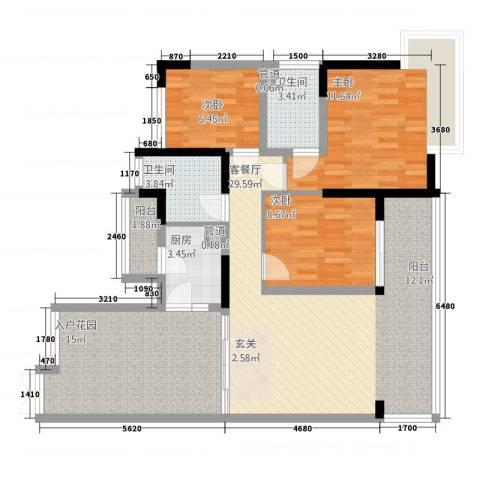 恒宇新苑3室1厅2卫1厨123.00㎡户型图