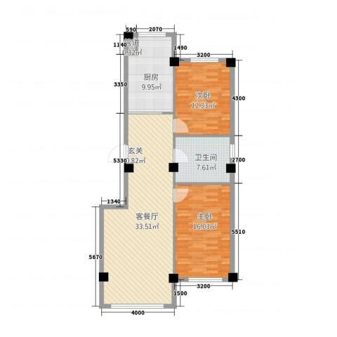 聚福园2室1厅1卫1厨79.75㎡户型图