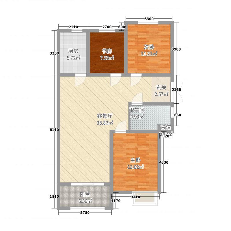 育才华都123.20㎡C1户型3室2厅1卫1厨