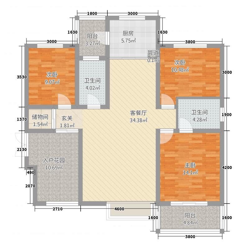 锦逸国际城141.11㎡A2标准层户型3室2厅2卫1厨