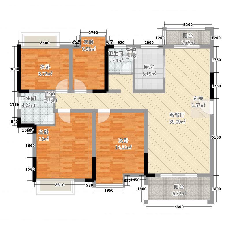 仁兴・城市花园144.00㎡5栋A01户型4室2厅2卫1厨