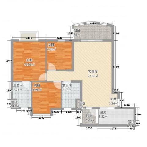 碧桂园太阳城3室1厅2卫1厨116.00㎡户型图