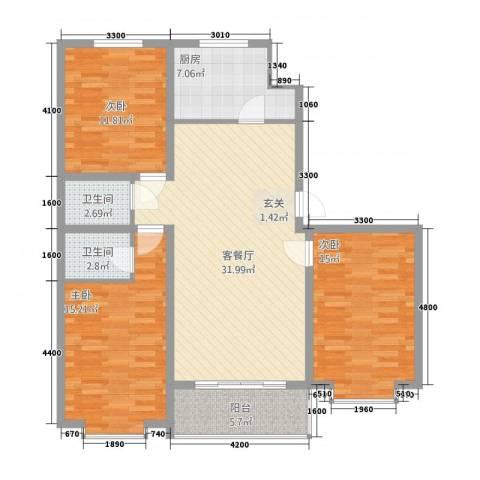 白金汉府3室1厅2卫1厨136.00㎡户型图