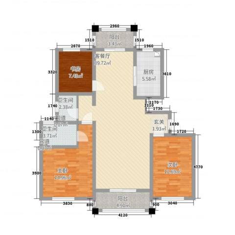 御秀园3室1厅2卫1厨137.00㎡户型图