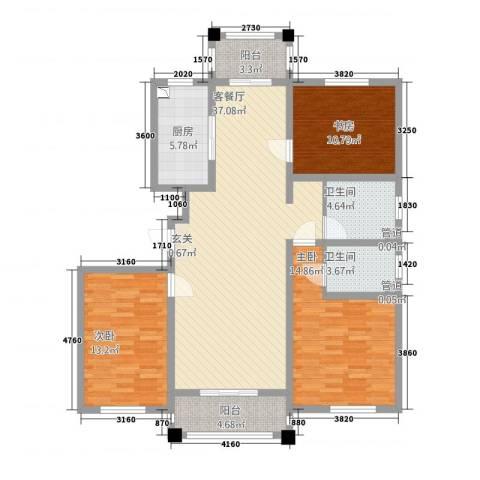 御秀园3室1厅2卫1厨141.00㎡户型图