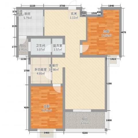 锦逸国际城2室2厅1卫1厨117.00㎡户型图
