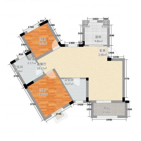 信达-泉天下2室1厅2卫1厨65.48㎡户型图