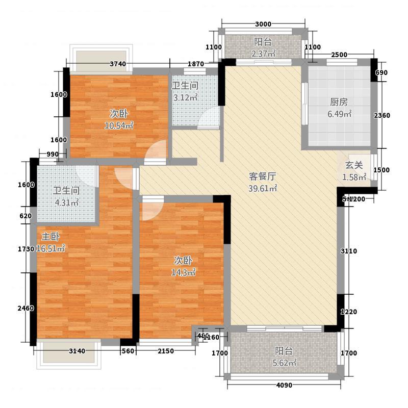 仁兴・城市花园138.00㎡8户型4室2厅2卫1厨