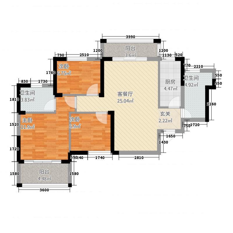 朝晖御苑15.82㎡12栋D-户型3室2厅2卫1厨