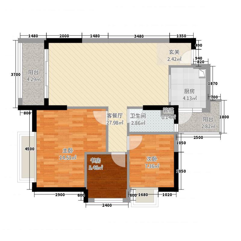 世纪名门3837.20㎡3户型3室2厅1卫1厨