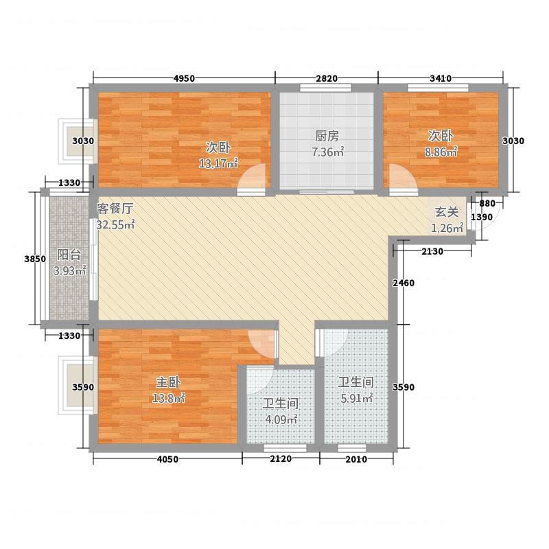 金领世家43128.51㎡户型3室2厅2卫1厨