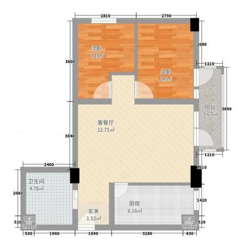 新世纪广场2室1厅1卫1厨78.00㎡户型图