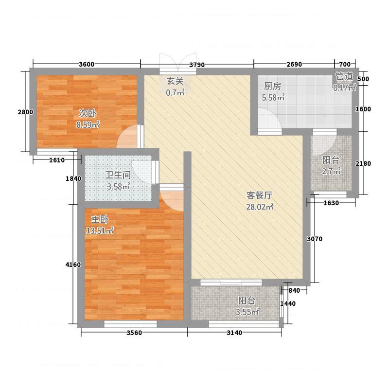 修武建业・森林半岛5.77㎡修武建业森林半岛户型2室2厅1卫