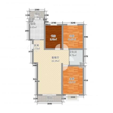 御泉苑新泉湾3室1厅1卫1厨120.00㎡户型图