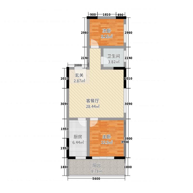 阳光小区三期阳光大厦5.64㎡7#户型2室2厅1卫1厨