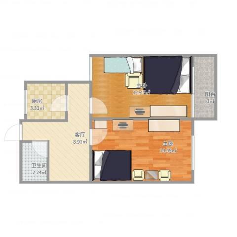 北京市双榆树东里2室1厅1卫1厨63.00㎡户型图