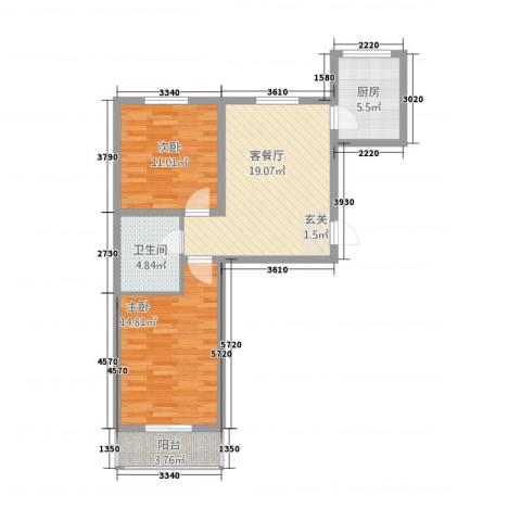 御泉苑新泉湾2室1厅1卫1厨85.00㎡户型图