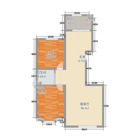 当代晶典2室1厅1卫0厨117.00㎡户型图
