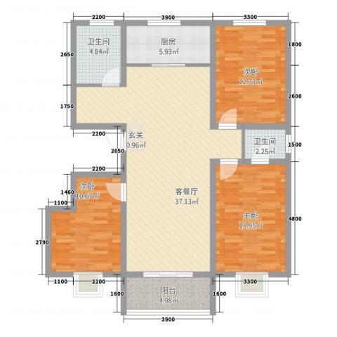 领秀西湖3室1厅2卫1厨132.00㎡户型图