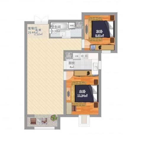 富地广场2室1厅1卫1厨82.00㎡户型图