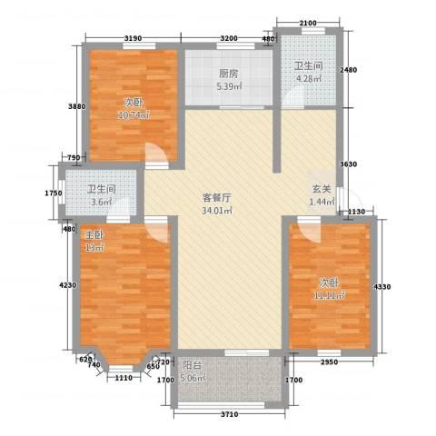 北晨嘉园3室1厅2卫1厨125.00㎡户型图