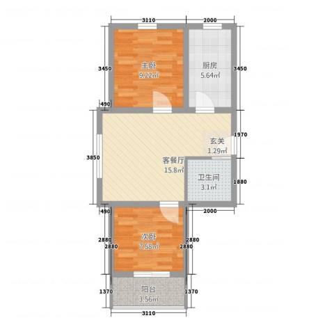北晨嘉园2室1厅1卫1厨66.00㎡户型图