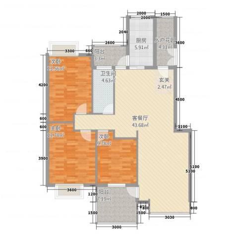 公园华府3室1厅1卫1厨122.00㎡户型图