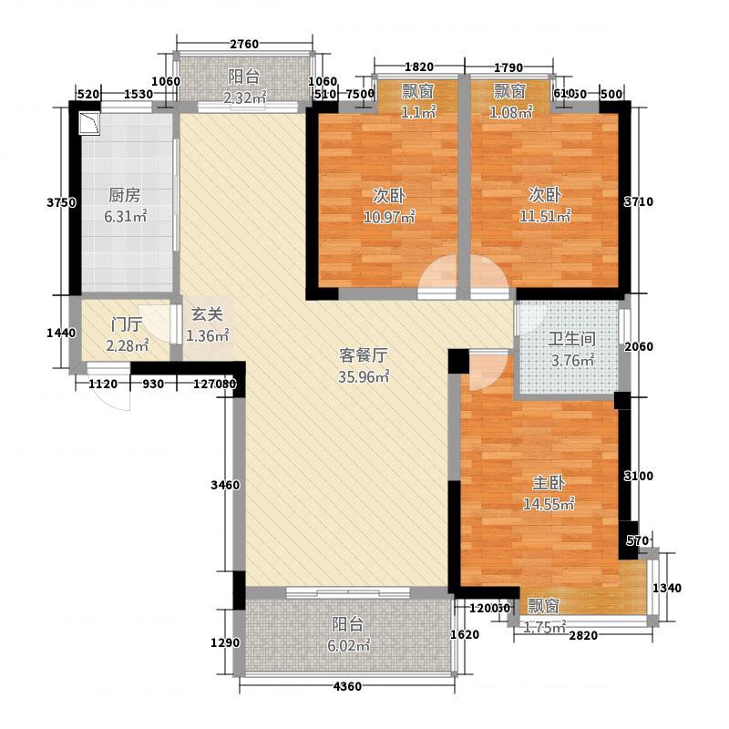 北湖名门峰尚二期133.64㎡B户型3室2厅1卫1厨