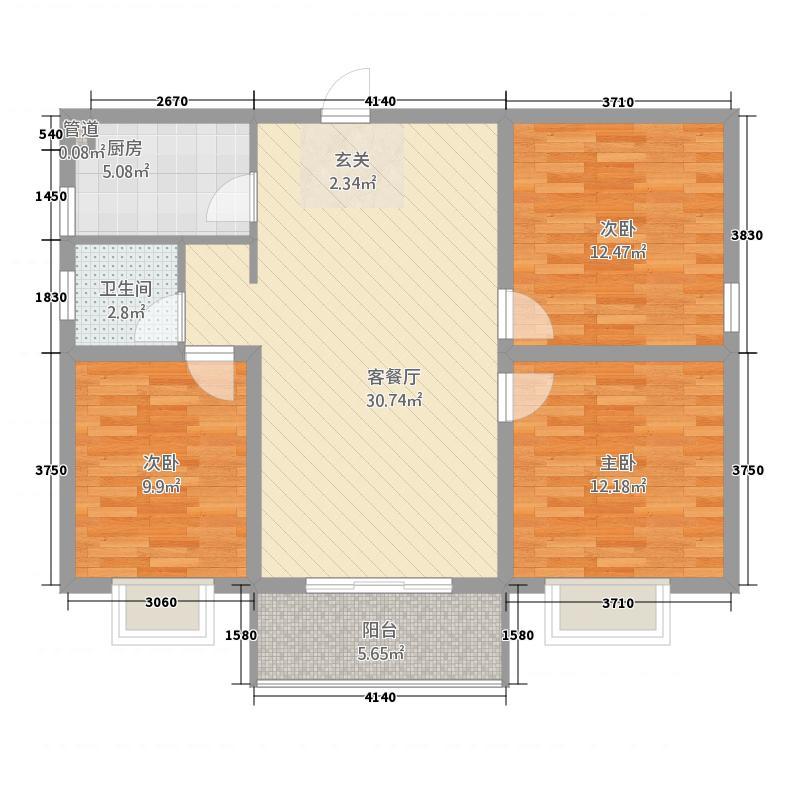 天骄华庭13.20㎡D户型3室2厅1卫1厨